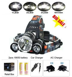 Wholesale Best Led Headlights - Best 6000 Lumen CREE XM-L T6 LED Headlamp Headlight 4Modes Caming Hunting Head Light Lamp +2*18650 Battery + AC Car Charger