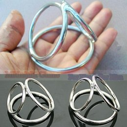 Wholesale Triple Cock Ring Sex Toys - Tri-Circle Metal Stainless Steel Cock Penis Ring Sex Toys Products For Men 3 Triple Penis Cage Erection Enhancer Bondage Wear