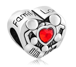 Wholesale Imitation Metal - Rhodium Plating Red heart Crystal Love Family Charm European bead Fit Pandora Chamilia Biag DIY Bracelet