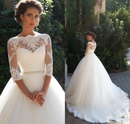 Wholesale Three Quarter Sleeve Long Dresses - Vintage Lace Ball Gown Wedding Dresses 2018 Milla nova Three Quarter Long Sleeves Sheer Neck Tulle Bridal Gowns with Covered Buttons