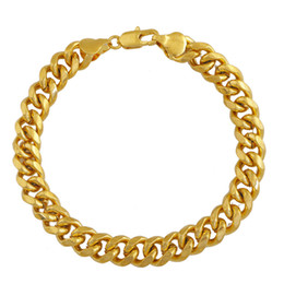 Wholesale Cuban Link Gold Chains Wholesale - Health Bracelet Wholesalers 18k Gold Plated Bracelets Curb Cuban Link Chain Men Bracelet Jewelry Titanium Steel Chain 2016 Christmas Gift