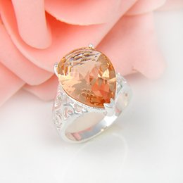 Wholesale Bulk Sterling Silver Jewelry - Bulk 3Pcs lot Holiday Gift Jewelry Unique Drop Morganite Crystal Gems Russia 925 Sterling Silver Plated USA Weddiing Party Ring