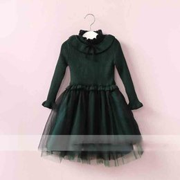 Wholesale Girls Brown Striped Dress - Everweekend Girls Bow Tulle Ruffles Dress Lovely Kids Brown and Green Color Clothes Princess Fleece Lining Autumn Party Clothing