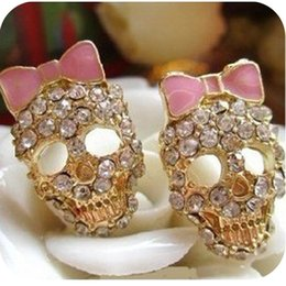 Wholesale Studs 5g - OMH wholesale 6pair OFF 20%= $0.88 pair EH95 fashion accessories vintage pink bow full rhinestone skull stud earring 5g