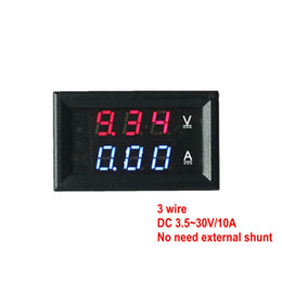 Wholesale Digital Dc Current Voltage Panel - Dual Blue Red LED Digital Voltmeter Ammeter Panel 10A DC 30V 2 in1 Voltage Current Display Meter Three Wires Free Shipping