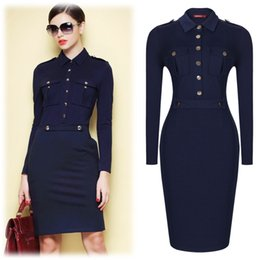 Wholesale Sheath Career Dresses - Women Summer Dark Blue Vintage Collared Elegant Long Sleeve Bodycon Workwear Business Office Career Casual Dress Size SM-XXL3117