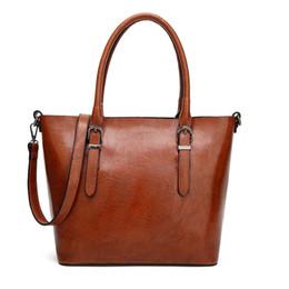 Wholesale Coffee Bucket - New Fashion Handbags PU Totes Simple Retro Fashion Ladies Large Capacity Single Shoulder Bag Leisure Fashion Shopping Bag