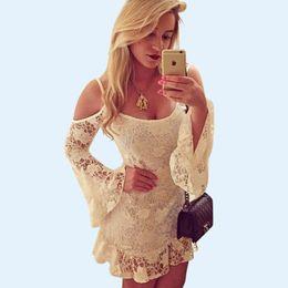 Wholesale long lace slip - Ladies White Floral Lace Slip Dress Long Sleeve Ruffles Mini Casual Dresses Summer Beach Dresses Cute Girls Graduation Party Dresses YH078