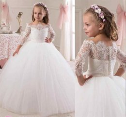 Wholesale Girls Long Glitz Pageant Dresses - 2016 Angel Off Shoulder Long Sleeves Ball Gown Lace Flower Girls Dresses Covered button Full Length Lovely Glitz Pageant Gowns BA0633