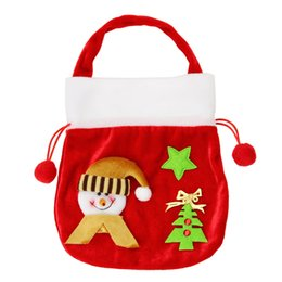 Wholesale Tree Decorations Pouches - Wholesale- Santa Claus snowman Christmas gift bag candy bags Handbag Pouch Cover christmas decoration for home Xmas Party Supplies Flock