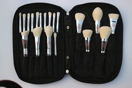 Wholesale Professional Live - Professional 19pcs Makeup Brush Set Live Beauty Fully Silver Cosmetic Brushes Kit with Bag Face Eyes Make Up Collection Tools