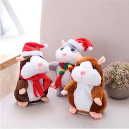 Wholesale Recording Stuff - 16cm Christmas Talking Hamster Plush Toy Interactive Sound Record Nod Plush Hamster Kids Stuffed Dolls 6 Styles OOA3339