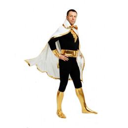 Wholesale Black Marvel Heroes - DC Comics Marvel Family Black Adam Superhero Costumes Cosplay Halloween Lycra Spandex Zentai Suit