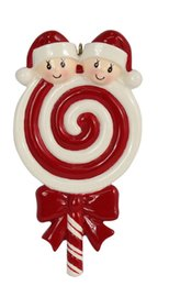 Wholesale Souvenir Christmas - Maxora Lollipop Family of 2 3 4 5 Resin Christmas Tree Ornaments With Babyface As Craft Souvenir For Personalized Gifts or Home Decor