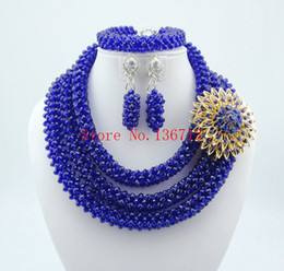 Wholesale African Beaded Earrings - Lovely Purple Single African Women Beads Jewelry Set Nigerian African Beaded Necklace Set Handmade Style Free Shipping ST302-2