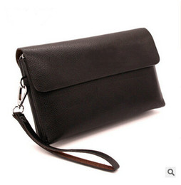 Wholesale Slotted Head - 2015 new business men leather handbag head layer Cowhide Leather Wallet Clutch men business handbag Day clutches wristlest