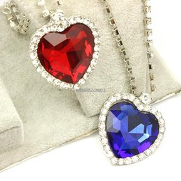 Wholesale Sliver Heart Necklace - Wholesale-Freeshipping wholesale 20pc a lot sliver plated royal blue Heart of Ocean Titanic Crystal women Necklaces & Pendants