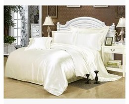 Wholesale Satin King Bedding - Cream white silk bedding set satin california king size queen full twin quilt duvet cover fitted bed sheet double bedspread 5pcs
