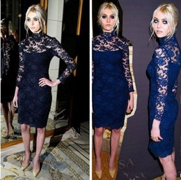 Wholesale Evening Dress Knee Length Sequined - Elie Saab 2016 Prom Dresses Cheap Short Illusion High Neck Celebrity Gowns Knee Length Long Sleeves Mermaid Formal Gowns Evening Dresses