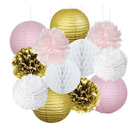 Wholesale Wedding Flower Paper - Set Of 12 Gold Pink White Party Decoration Kit Tissue Paper Pom Pom Honeycomb Ball Paper Lantern Pink Shower Decoration