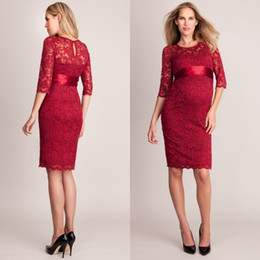 Wholesale Evening Dresses For Celebrities - 2016 Modest Celebrity Maternity Dresses Red Carpet Evening Gowns Sexy Sheer Jewel Neck Half Sleeve Empire Lace Prom Dress for Pregnant Women