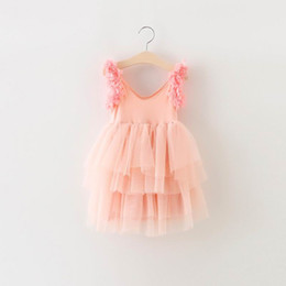 Wholesale Petal Dress Child - Girl Fairy Dresses Petal Shoulder Gauze TUTU Dress Girl Princess Dress Children Clothing 2-8T 1900