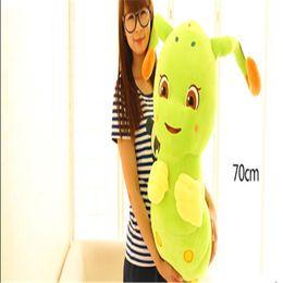 Wholesale Stuffed Animal Caterpillars - Wholesale-Uniquely 20cm 30cm 50cm Caterpillar Plush Toy Cartoon Animal Doll Shine And Talking Bolster Hobbies Stuffed Birthday Gift TY207
