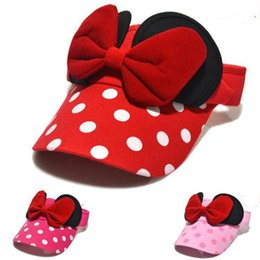 Wholesale Children Ribbon Hats - 2015 New arrival Baby girls Minnie design Big Bow cotton hat big ribbon round dot children summer hats baby caps Children's Hair Access