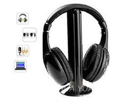 Wholesale Wireless Tv Headphones - Wholesale-5 IN 1 HIFI wireless headphones TV Computer FM radio earphones high quality headsets with microphone wireless receiver