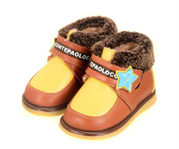 Wholesale Boots For Infants - Wholesale-Brand Winter Fluff Cowhide Genuine Leather Walker Wearproof Antislip Toddler Soft Soled Shoes Boots For Boys Baby Infant