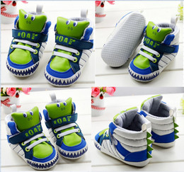 Wholesale Baby Dinosaur Shoes - Free shipping!Cartoon children casual shoes,green dinosaur baby shoes,boys sports shoes,11,12,13 cm walker shoes,childen shoes.6 pairs 12pcs