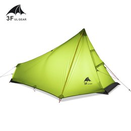 Wholesale Camouflaged Tents - Wholesale- 3F UL GEAR 740g Oudoor Ultralight Camping Tent 3 Season 1 Single Person Professional 15D Nylon Silicon Coating Rodless Tent