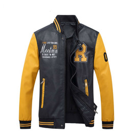 Wholesale mens faux jacket - New Promotion Fashion Outdoor Jackets Men Faux Leather Male Varsity Jacket Coats Casual Mens Winter Pilot Embroidery Outerwear Windbreakers