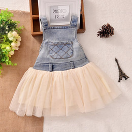 Wholesale Denim Wash Dress - New Children's Clothing Washed Denim Kids Jeans Suspender Dress Lace TUTU Tiered Tulle Strap Dresses Baby Girls's Cowboy Party Dress C1749