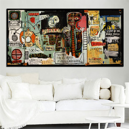 Wholesale Digital Paintings - large size Frameless Graffiti Art Prints Poster Art Wall Pictures Basquiat canvas painting Notary For bedroom and living room decoration