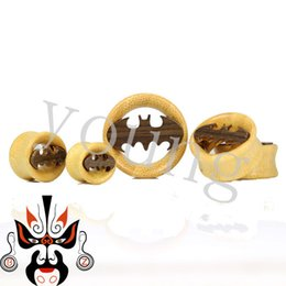 Wholesale Wholesale Wood Ear Plugs - Hot sale beautiful design with high quality Free shipping bamboo wood plugs and tunnels ear gauges piercing body jewelry batman logo