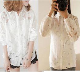 Wholesale Bamboo Lady Wear - 2015 new winter fashion women cotton blouse shirt lady work wear lace blouses woman office shirts