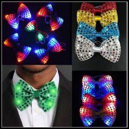 Wholesale Light Up Christmas Tie - Christmas Sequins LED Necktie Light Up Neck Tie Luminous LED Bowtie Flashing Blinking Party Favors CCA8405 100pcs
