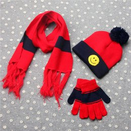 Wholesale Wholesale Wool Hats Gloves - MIC 2 set  1lot Children wool Line knitted hats scarves gloves three-piece 6 color choices