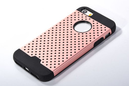 Wholesale Defender Iphone5 - Hybrid Metal + TPU Combo Cover Heat Radiating Mesh Dots Hollow Out Slim Defender Armor Case For iPhone 5 5G 5S iPhone5 IP5SC96