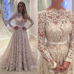 portraits nudes Coupons - Long Sleeves Vintage Lace Wedding Dresses 2019 Arabic Sheer Bateau Neck Backless A Line Sweep Train Bridal Gowns Robe De Soiree Custom 030