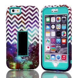 Wholesale Anchor Iphone Cases - For Apple iPhone 6 Plus 6S Plus iPhone6 Plus Rubber PC + TPU Tuff Dual Layer Hybrid Nebula Chevron Anchor Pattern silicone Case with Stand