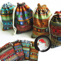 Wholesale Gifts Jewelry Linen Bags - Tibet Stripe Linen Gift Bags Travel Organizer Storage Bag Vintage Jewelry Drawstring Pouch