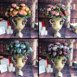 Wholesale Fake Flowers Arrangements - Wholesale- Artificial Fake Peony Silk Floral 12 Heads Flowers Bridal Flower Arrangement Home Wedding Table Party Decor Flores Artificiales