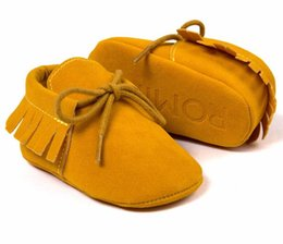 Wholesale Newborn Bottoms - Romirus Pu suede leather baby Moccasins shoes lace-up infant baby boots Newborn first walkers princess shoes soft bottom