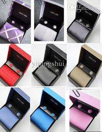 Wholesale Commercial Gift Boxes - Wholesale-Free shipping 5sets random mix latest Korean Silk commercial tie set TIE+HANKY+CUFFLINKS+BOX gift set tie wholesale&retail