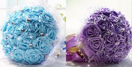 Wholesale Cheap Blue Flower Wedding Bouquets - High Qualith Artificial Blue Wedding Bouquets Holding Flowers Purple 2016 New Bridal Bouquet Wedding Accessories Brooch Crystal beaded Cheap