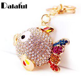 Wholesale Heart Tails - beijia Colorful Crystal Tail Fish Goldfish Keychains HandBag llaveros Keyrings Key Chains Purse Bag Pendant For Car Women K252