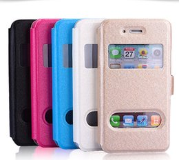 Wholesale Iphone 5s Flip Window - For iphone 7 plus case Flip view double dual Open window case PU leather cases cover with stand holder for iphone 4S 5 5S 6 6s plus 7 plus