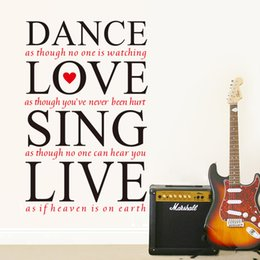 Wholesale Wall Sticker Love Dance - Dance Love Sing Live DIY Removable Vinyl Wall Quote Sticker Decal Art Home Decor